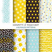 8 Seamless Patterns - Confetti and Polka Dot - texture for wallpaper, background, scrapbook, design
