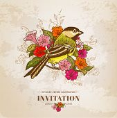 Vintage Card - Flowers and  Bird - for design and scrapbook in vector