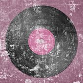 Black Vinyl Record On Pink Dotted Background