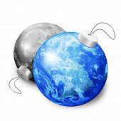 Earth And Moon Christmas Balls
