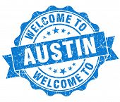 Welcome To Austin Blue Vintage Isolated Seal