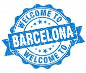 Welcome To Barcelona Blue Vintage Isolated Seal
