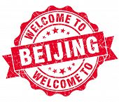 Welcome To Beijing Red Vintage Isolated Seal