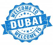 Welcome To Dubai Blue Vintage Isolated Seal