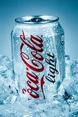 MOSCOW, RUSSIA-APRIL 4, 2014: Can of Coca-Cola Lignt on ice. Coca-Cola is a carbonated soft drink so