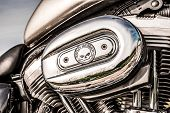 RUSSIA-JULY 7, 2013: Harley-Davidson v-twin Sportster 883. Harley-Davidson sustains a large brand community which keeps active through clubs, events, and a museum.