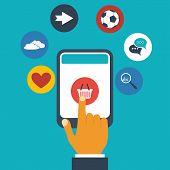 Mobile app concept - finger presses an icon