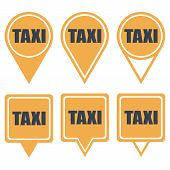 Navigation yellow pins for taxi