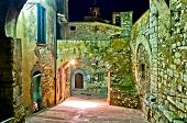 night view of medieval street in Campiglia Marittima, Tuscany
