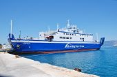 CORFU, GREECE - JUNE 23, 2014: 2Way Ferries ship Dorieus moored at Kerkira harbour on the Greek isla