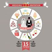 Wedding Invitation In Infographic Style.retro Wedding Wear