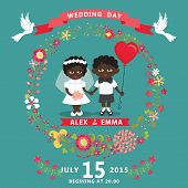 Wedding Invitation With Mulatto Baby Bride,groom,floral Wreath
