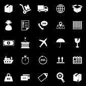 Logistics Icons On Black Background