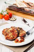 Delicious Parmigiana On White Plate
