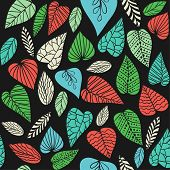 Background with abstract leaves. Seamless pattern