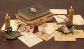 Vintage Background With Books, Photo And Candles