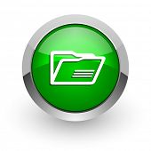 folder green glossy web icon