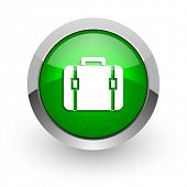 bag green glossy web icon