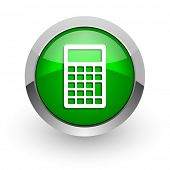 calculator green glossy web icon