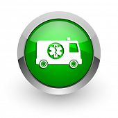 ambulance green glossy web icon