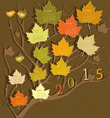 Tree shape calendar for 2015