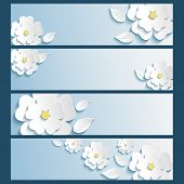 Постер, плакат: Set Of Banners With 3D Stylized Flowers Sakura And Leaves