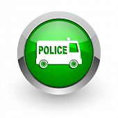 police green glossy web icon