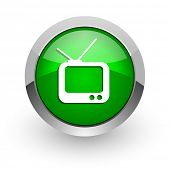 tv green glossy web icon
