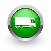 delivery green glossy web icon
