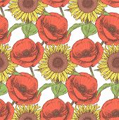 Sketch Poppy And Sunflower,  Vintage Seamless Pattern