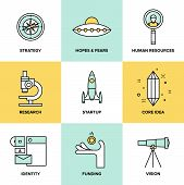 stock photo of solution  - Flat line icons set of small business planning development startup key elements strategy solution and market research brand identity and company vision - JPG