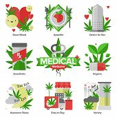 stock photo of medical marijuana  - Flat icons set of daily medical marijuana uses research cannabinol effect in medicine cannabis variety using forms - JPG