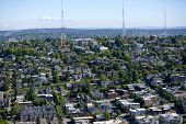 stock photo of view from space needle  - View of Seattle and radio towers from Space Needle - JPG