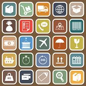 Logistics Falt Icons On Brown Background