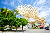 Seville, Spain, Jun 2014: Metropol Parasol is the modern architecture on Plaza de la Encarnacion on