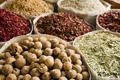 UAE, Dubai, many different spices for sale at the spice souq in Deira