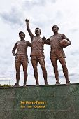 Famous footballers statue at the Manchester United FC.