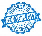 Welcome To New York City Blue Vintage Isolated Seal