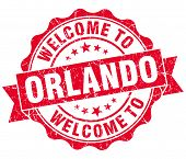 Welcome To Orlando Red Vintage Isolated Seal