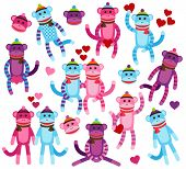 Vector Collection of Valentine's Day Themed Sock Monkeys