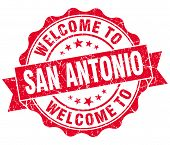 Welcome To San Antonio Red Vintage Isolated Seal
