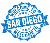 Welcome To San Diego Blue Vintage Isolated Seal