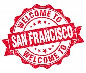 Welcome To San Francisco Red Vintage Isolated Seal