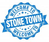 Welcome To Stone Town Blue Vintage Isolated Seal