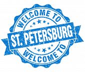 Welcome To St. Petersburg Blue Vintage Isolated Seal