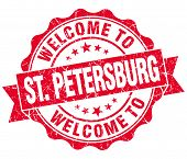 Welcome To St. Petersburg Red Vintage Isolated Seal