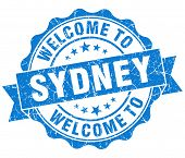 Welcome To Sydney Blue Vintage Isolated Seal