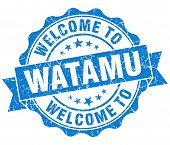 Welcome To Watamu Blue Vintage Isolated Seal