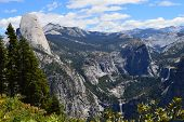 picture of granite dome  - View from Sentinel Dome in Yosemite National Park in California - JPG