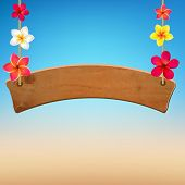 Wooden Sign With Frangipani, With Gradient Mesh, Vector Illustration